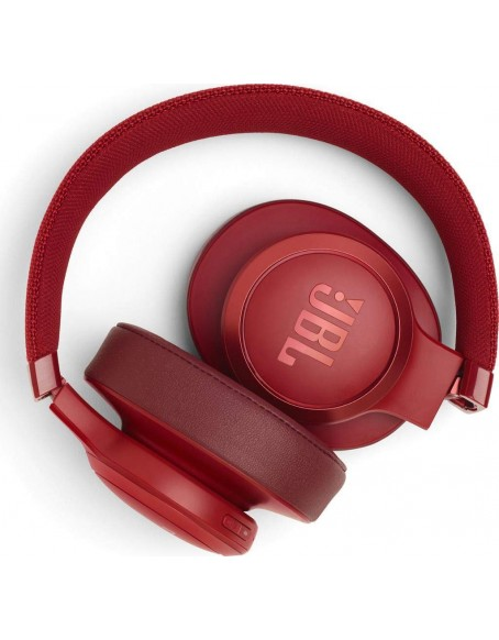 (Renewed) JBL Live 500BT Wireless Over-Ear Voice Enabled Headphones (Red)