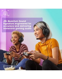 JBL Quantum 200 Wired Over-Ear Gaming Headset with Flip-up Mic & Discord Certified (Black)