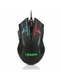 """Lenovo Legion M200 RGB Gaming Wired USB Mouse GX30P93886, Ambidextrous, 5-buttons, upto 2400 DPI with 4 levels DPI switch, 7-colour RGB backlight, 500fps frame rate, upto 30"""" per second movement speed"""